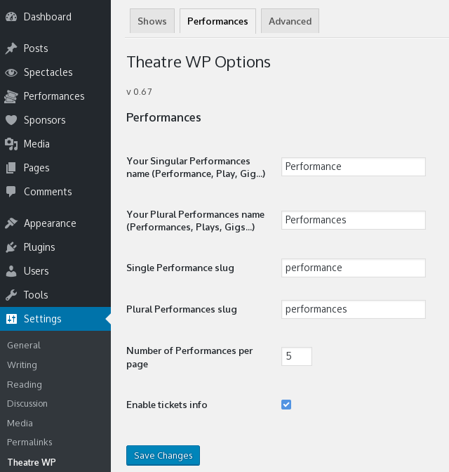 Theatre WP Options