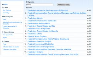 Listado de festivales en In the Dir