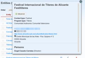 Detalle de contacto de un festival en In the Dir