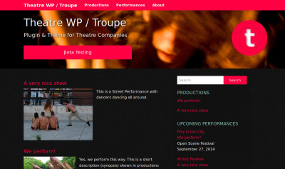 Troupe: Tema de WordPress con Theatre WP
